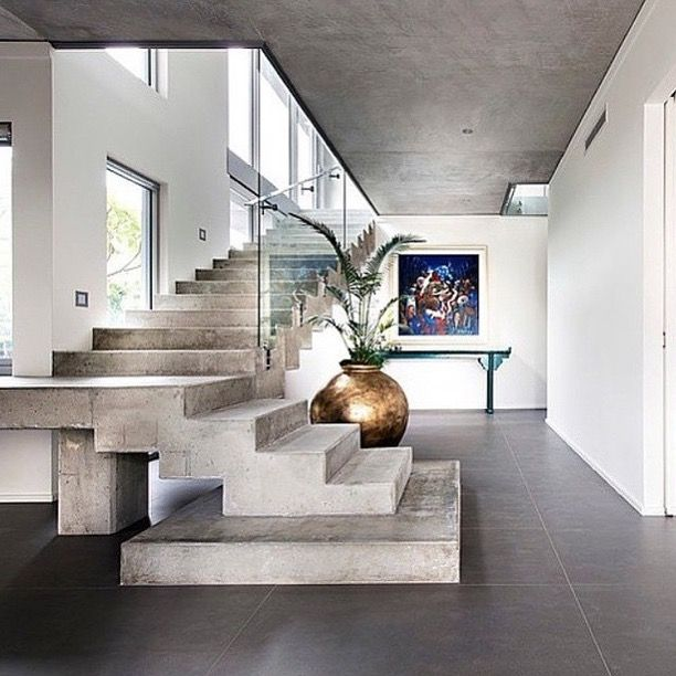 City Beach House Concrete Stairs Glass Balustrade   Home Decorating Trends    Homedit