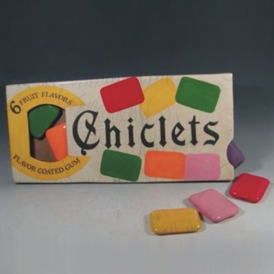 Chiclets, I religiously bought the white ones.... and ate them, much of the time, no chewing... Lol... O boy...