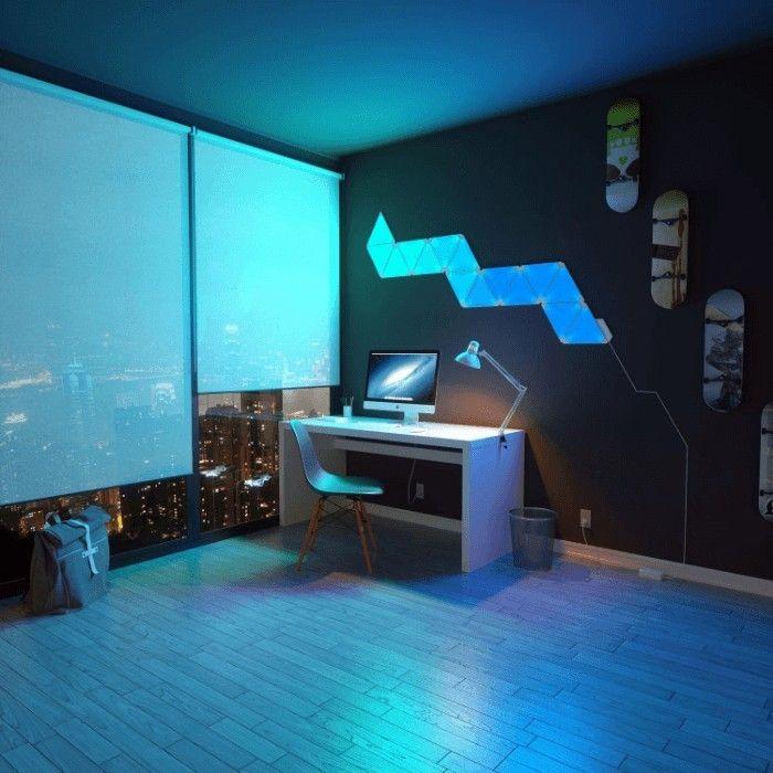 7 Insanely Cool Led Light Setups For Music Studios We Love 7 Nanoleaf Aurora Kit Homes Music Studio