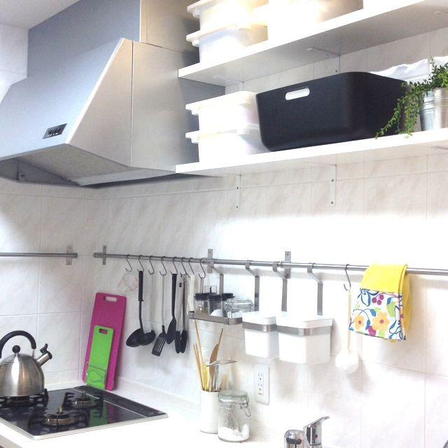 yokoさんの、キッチンの収納,キッチン収納,IKEA GRUNDTAL,IKEA TROFAST,IKEA収納,IKEA キッチンレール,IKEA,キッチン,のお部屋写真