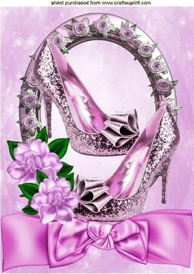 Pretty pink sparkle shoes in rose frame with bow A4  on Craftsuprint - Add To Basket!