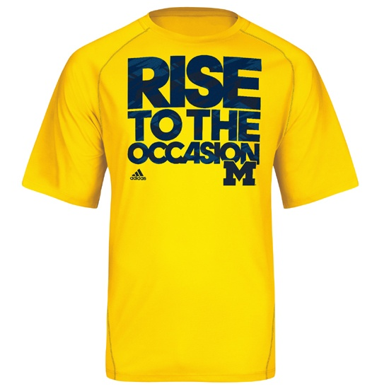 Adidas University of Michigan Basketball Yellow ''RISE'' Tee