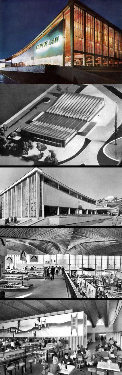 """Supermarket """"Supersam"""" Warsaw 1962 designed by Jerzy Hryniewiecki, Maciej Krasiński, Maciej Gintowt"""
