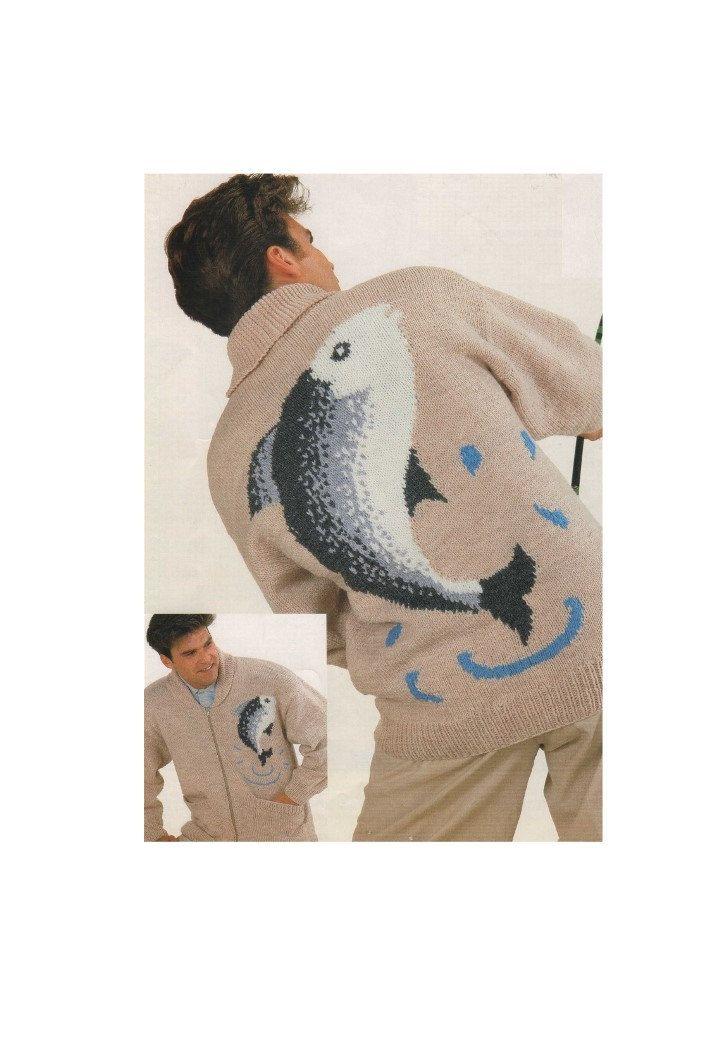 Mens Zip Cardigan Fishing Fish Motif PDF Knitting Pattern : Zipped Jacket . 36, 38, 40, 42, 44, 46 and 48 inch chest . Digital Download by PDFKnittingCrochet on Etsy