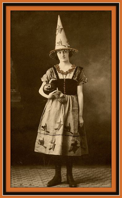 Vintage Halloween Postcard Bridge Tally Crepe I Want This Darling Gals Fabulous Witch Costume So