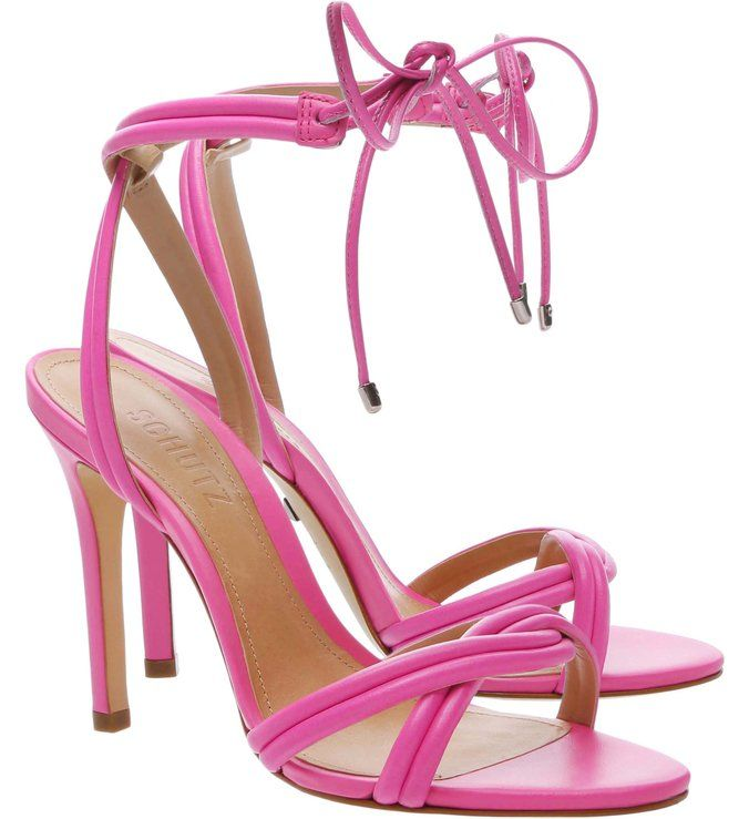 Sandália Salto Alto Strings Neon Pink em 2019 | Chinelos