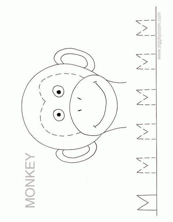 Monkey face template ZZ Alphabet Worksheet - Letter M | Ziggity Zoom