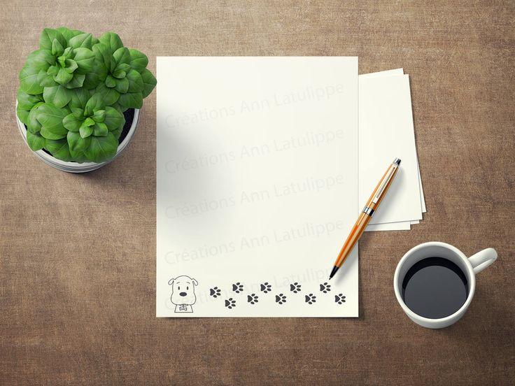 Papier à lettre imprimable Chien format lettre 8.5x11, Dog printable writing paper, stationary paper, papier a ecrire a imprimer