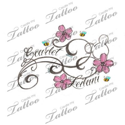 flowery hidden mickey with kids names custom tattoo | flowers2 #38894 | CreateMyTattoo.com