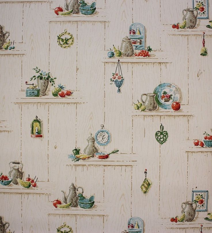 1960s Vintage Wallpaper Blue and Red Ktichen Utensils on Wood Grain Apples