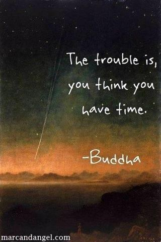 The trouble is, you think you have time.~Buddha