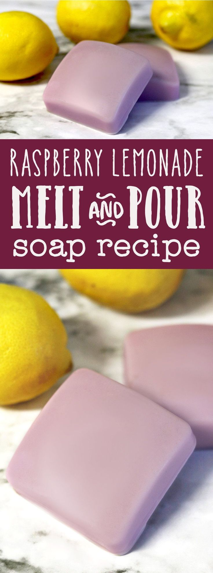 This raspberry lemonade melt and pour soap recipe takes just 10 minutes to make, making it quick, easy, and inexpensive craft. Plus learn about melt and pour soapmaking additives you can use to create your own custom melt and pour soap recipes! #soap #soa