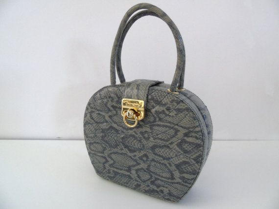 Giorgio Beverly Hills Faux Python Hatbox Purse by 777VintageStreet