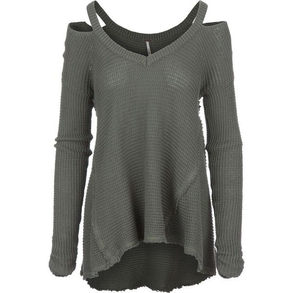 Free People Moonshine V-Neck Sweater (€74) ❤ liked on Polyvore featuring tops, sweaters, cutout shoulder top, vneck sweater, relaxed fit tops, open shoulder sweater and cotton v neck sweater