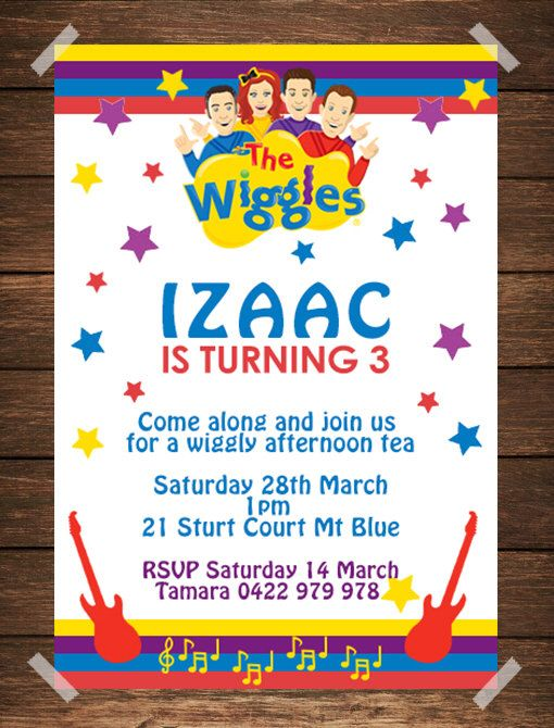 Wiggles Birthday Invitation / Wiggles Invitation by IslaKateDesigns on Etsy https://www.etsy.com/listing/244769363/wiggles-birthday-invitation-wiggles
