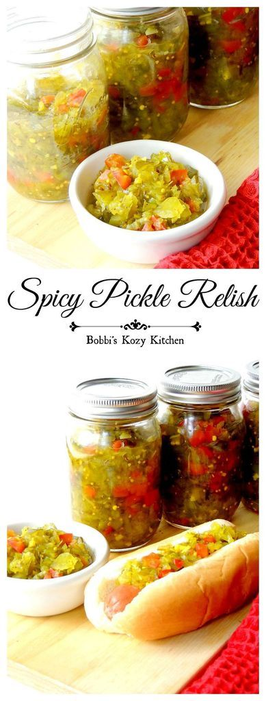 Spicy Pickle Relish - This relish is perfect. Tangy, sweet, with just a bit of heat. It will soon become your go-to relish for hot dogs, burgers, and more from www.bobbiskozykitchen.com