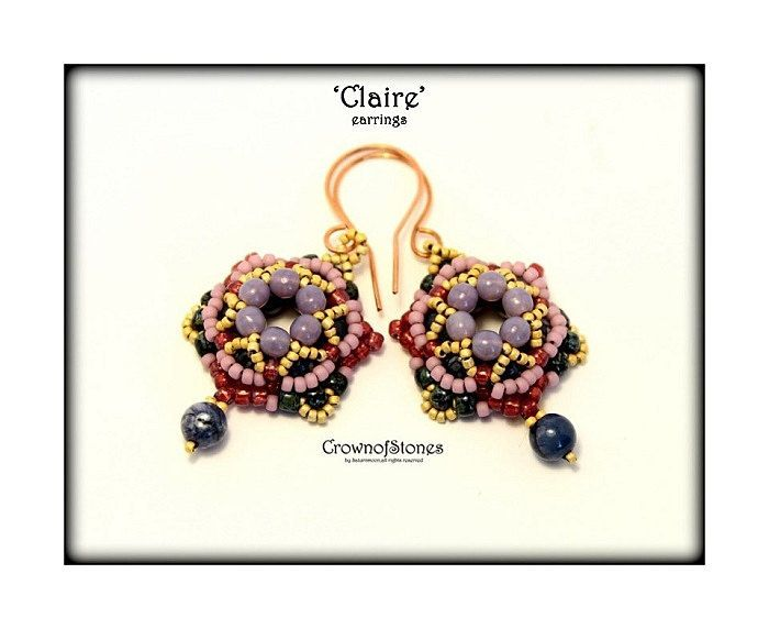 Bead Pattern 'Claire' earrings with round beads by CrownofStones