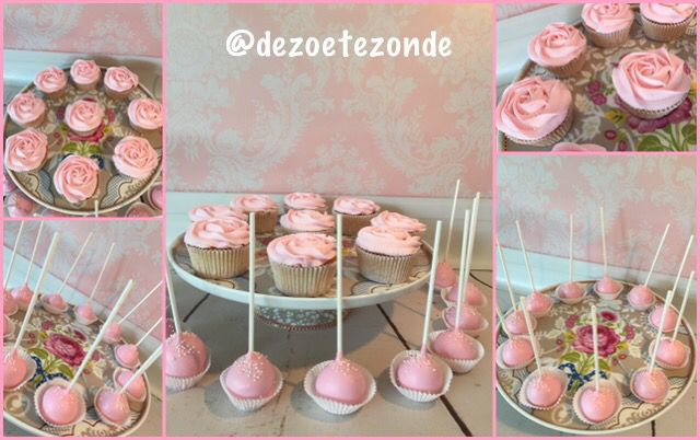 Pink wedding cupcakes and cakepops