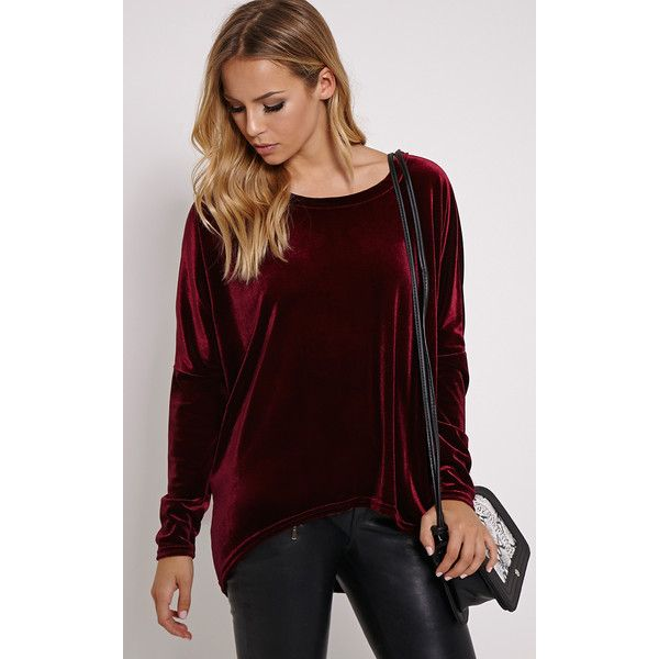 Roma Wine Velvet Long Sleeve Top-6 ($24) ❤ liked on Polyvore featuring tops, red, wine, goth tops, velvet top, batwing tops, wine tops and red velvet top