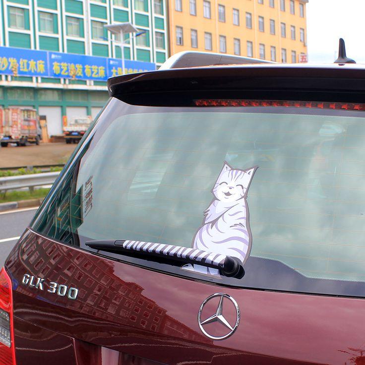 Mode 3 styles Ventes Chaudes 2016 de Bande Dessinée Drôle heureux Chat Tail Déménagement decal autocollant Réfléchissant Fenêtre De Voiture D'essuie-Glace Stickers voiture-style