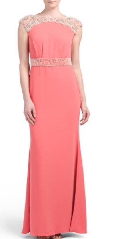 PAMELLA ROLAND Embellished Coral Gown W/ Cowl Back Size 10 $1,060 NWT #PamellaPamellaRoland #SheathGown #FestiveFormal