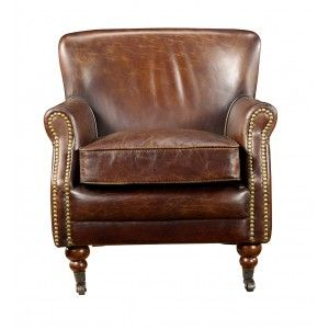 $485 Vintage Cigar Leather English Club Chair  Would love one of these for the hubs in the family room with an upholstered ottoman.