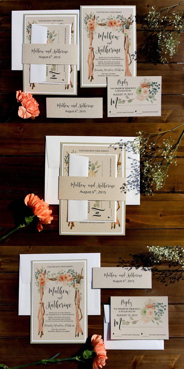 Gold and Cream Kraft Rustic Wedding Invitations