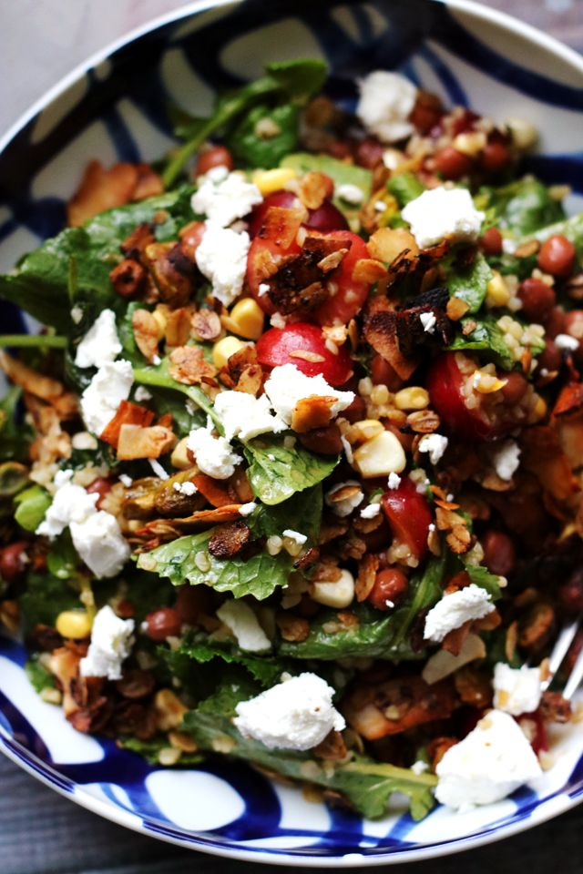 Kale, Cherry, and Bulgur Salad with Savory Pistachio Granola and Goat Cheese