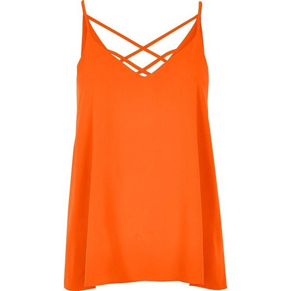 River Island Orange strappy cami top ($8.61) ❤ liked on Polyvore featuring tops, orange, sale, orange top, strappy cami, v-neck tops, orange cami top and v neck cami