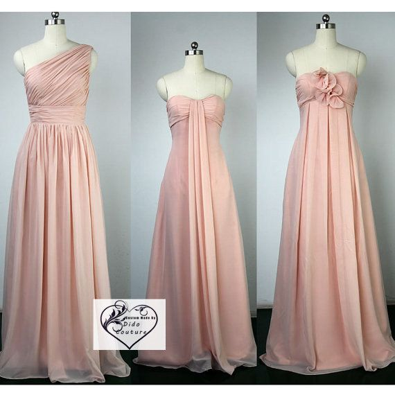 Custom Made Blush Pink  Bridesmaid Dress  Chiffon Mix Bridesmaids Dress Cheap Bridesmaids Dress Simple Prom Dress on Etsy, $99.00