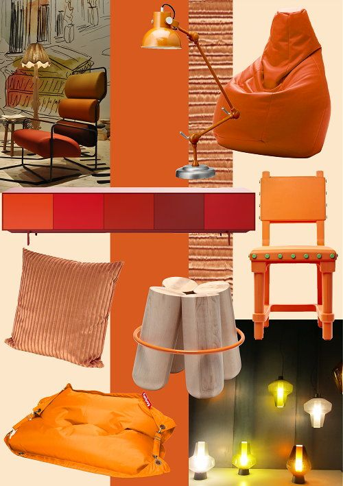Moodboard Orange Colors & Interior Decoration Design Trends 2012 - We support our Dutch team at home with the color orange during the European Soccer Championship 2012 & the Olympic Games!