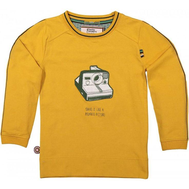 Gele jongens t-shirt Camera van het kleding merk 4funkyflavours. Deze gele t-shirt heeft een lange mouw, de mouw is afgewerkt met groene geborduurde strepen. De shirt heeft een tekening van een polaroid camera met de tekst eronder : Shake it like a polaroid picture.