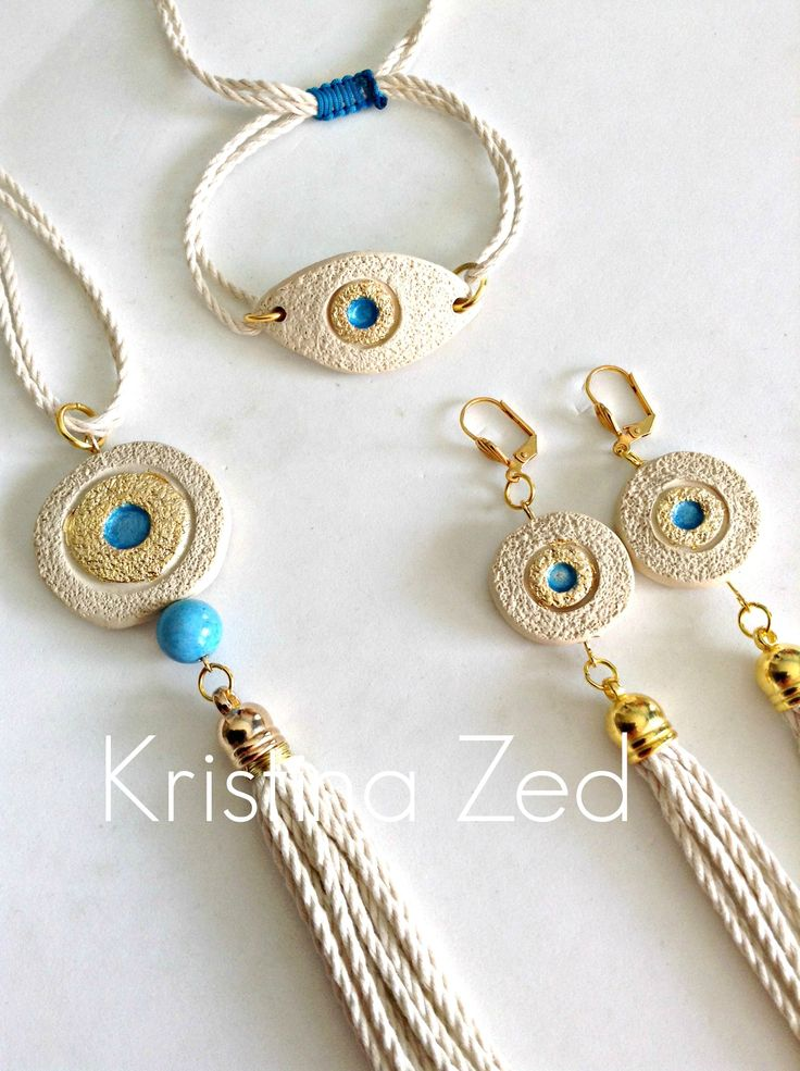 MY HANDMADE JEWELS-NECKLACE, BRACELET AND EXTRA LONG EARINGS !!! ceramic elements, tyrquoise, cotton cord FANTASTIC SET !!