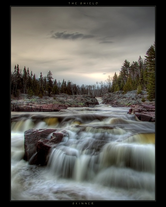 Canadian Shield at Cascades, Current River near Thunder Bay.  The Canadian Shield, also known as the Precambrian Shield or Laurentian Plateau, covers about half of Canada. | by wb-skinner, via deviantART
