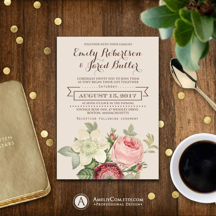 Printable Wedding Invitation Romantic Flowers Vintage By AmeliyCom