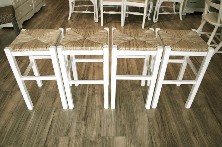 Distressed Off White Bar Stools