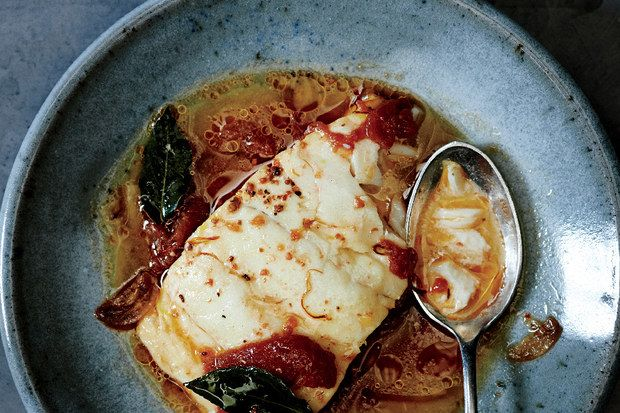 Poached Cod with Tomato and Saffron - Pretty good, I might possibly make it again. I didn't have the wine and I'm sure that would have made a difference. It is a good base recipe for a brothy poached cod.