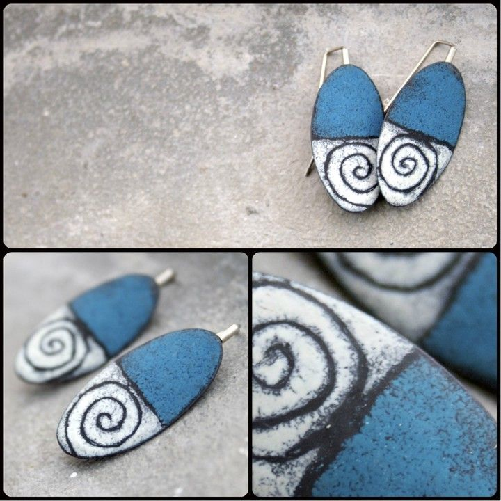 Blue Spiral Earrings from Angela Gerhard Jewelry for $110 on Square Market