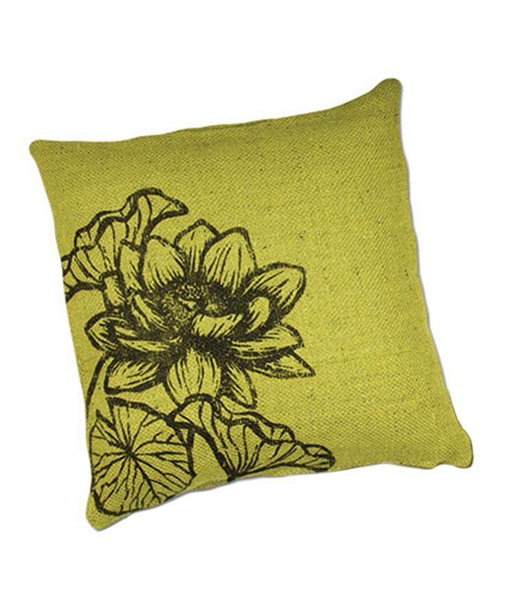 Green Flower Jute Throw Pillow