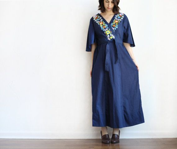 navy embroidered floral bell sleeve cotton maxi by BRITSTUDIO