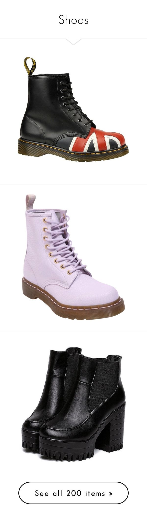 """""""Shoes"""" by beccaconnor ❤ liked on Polyvore featuring shoes, boots, black, dr martens boots, ski shoes, dr martens footwear, rubber sole shoes, dr martens shoes, lavender and lavender shoes"""