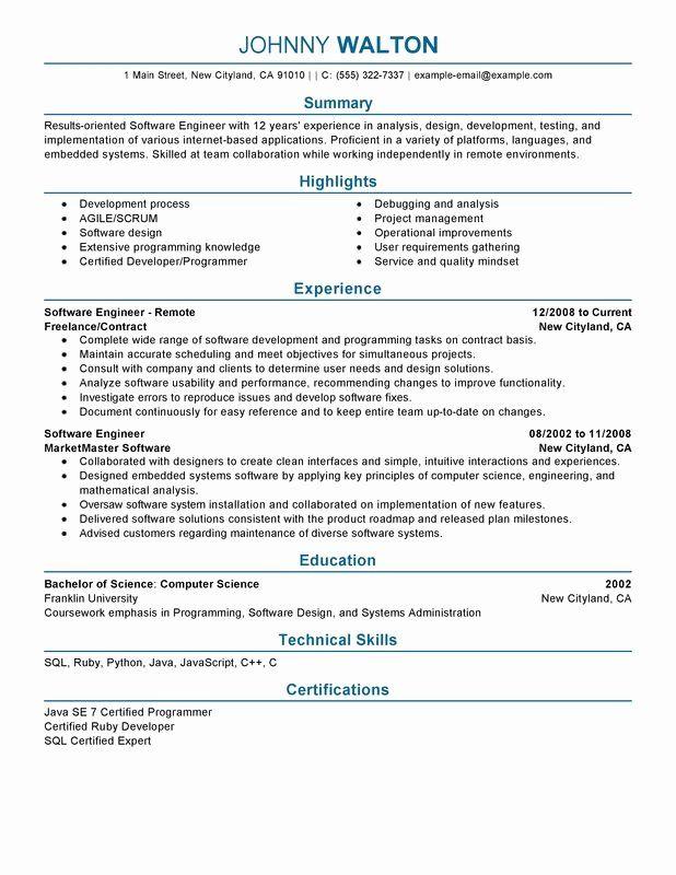 25 Entry Level Software Developer Resume Resume Software