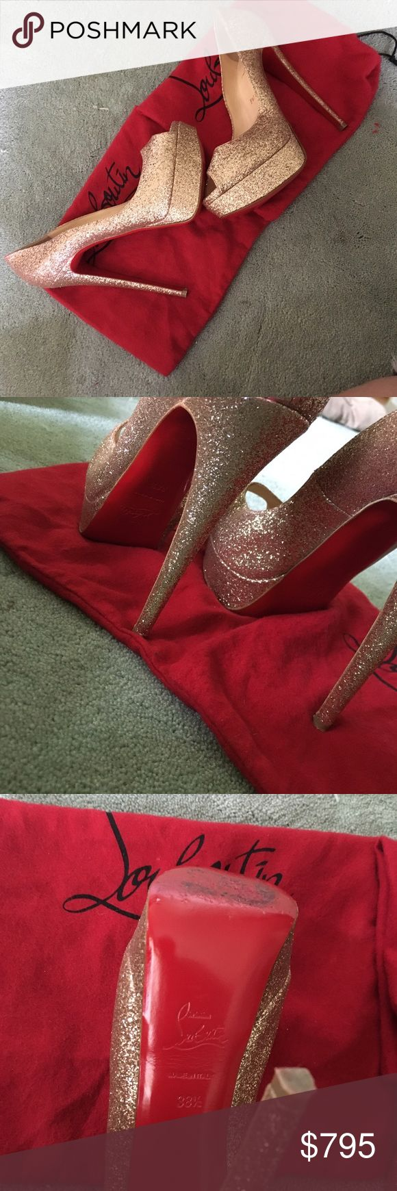 Christian Louboutin peep toe gold glitter heels Where to start? These are 150mm Lady Peep Toe in Gold glitter. They shine from a mile away- and are so high you can be seen for a mile away. I wore these once to my best friends wedding, which was a mistake since I was the maid of honor, I had a lot of running around to do. I had to take these off and never managed to put them back on ever again. They are in great condition, beautiful gorgeous shoes!!! Christian Louboutin Shoes Platforms