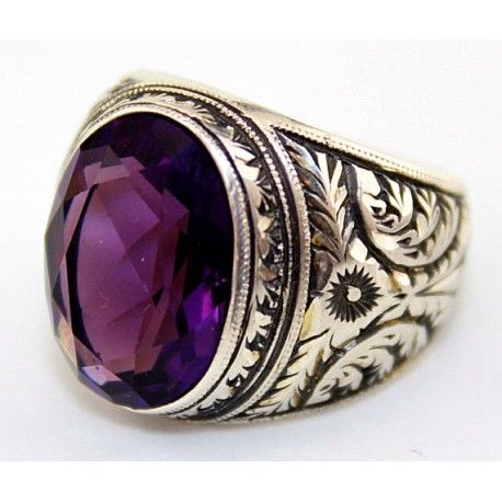 Sterling Silver 925 Men Ring Amethyst Lab Stone