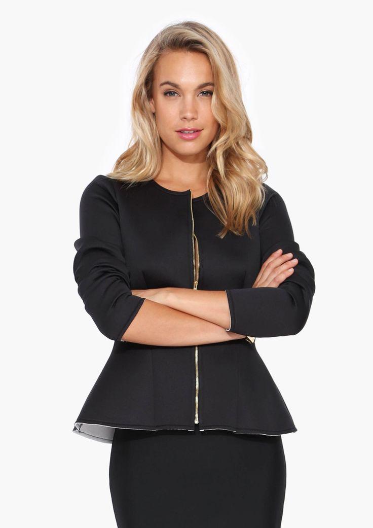 Neoprene Peplum Jacket | Shop for Neoprene Peplum Jacket Online