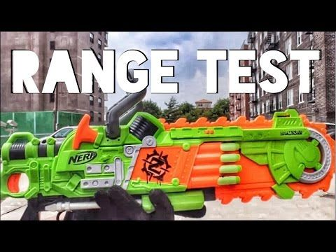 This is the official Nerf Gun Attachments Nerf Zombie Brainsaw Range Test!