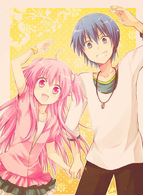 Angel Beats- Yui and Hinata! These two are so cute! I love how it wasn't a 'head-over-heels' cliched love, that they tried to hurt eachother a lot in the beginning, but in the end, they learned to love eachother. :)