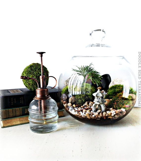 Japanese Garden Terrarium With Miniature Path Pagoda