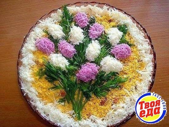 Оригинальный праздничный салат Весенний букет, не забудьте сохранить, пригодится!