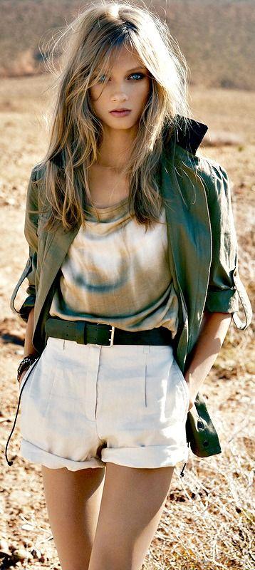 Feminine fashionable military look
